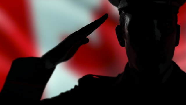 Canadian Officer Silhouette Salute, Remembrance Day, Canada Flag Close Up video