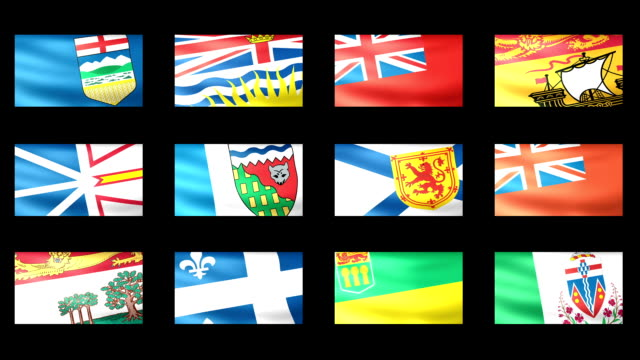 Canadian States Flag Waving video