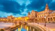Canal and bridge on Plaza de Espana in Seville video