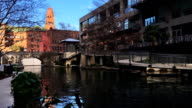 Canal boat at the Riverwalk in San Antonio, Texas video