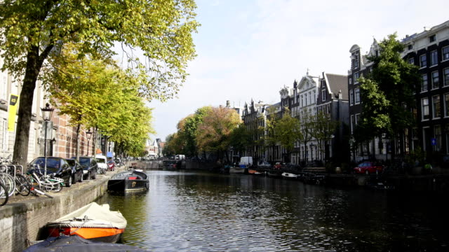 Canal in Amsterdam, Amstel, Holland, Netherlands video