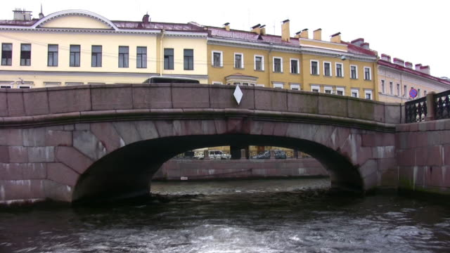Canal with bridges in Petersburg video