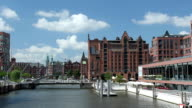 Canals of Speicherstadt and Maritime Museum, Hamburg, Germany video