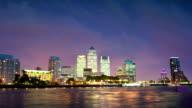 Canary Wharf night panorama. London video