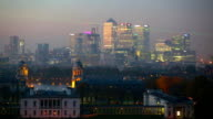 Canary Wharf night panorama. View includes Royal chapel and Painted hall in Greenwich video