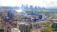 Canary Wharf skyscrapers and London panorama in early morning video