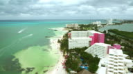 cancun hotel zone beach and lagoon from above video