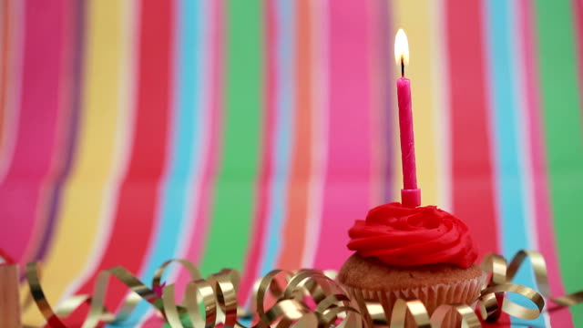 Candle on birthday cupcake blown out video