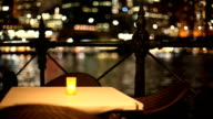 Candlelight Dinner, Harbourside at Night, Empty Table video