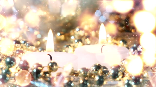 candles and christmas stars loopable background video