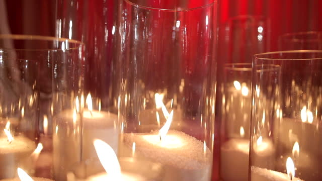Candles in Glass on the Floor With White Fabric video