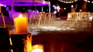 Candles on the background locations for the wedding ceremony. video