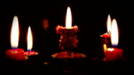 Candles with five branches candelabrum in full dark video
