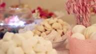 Candy bar with cookies and colorful candy for birthday, anniversary, wedding video