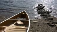 Canoe by lake. video
