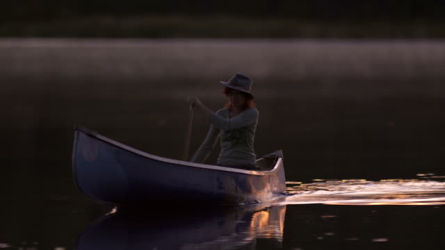 Canoeing at dusk video
