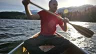 Canoeing at sunrise video