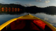 Canoeing on Cheow Lan lake in the morning. video