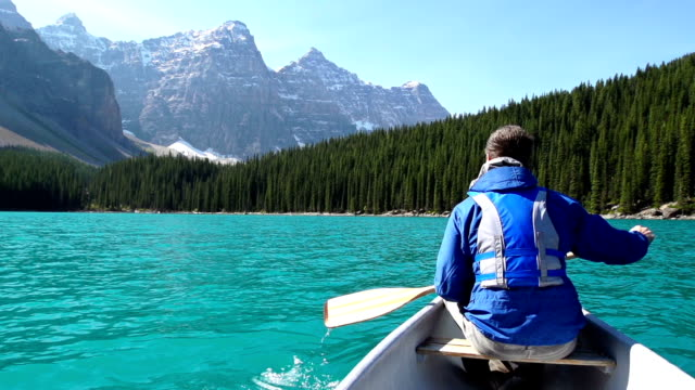 Canoeing on Mountain Lake video