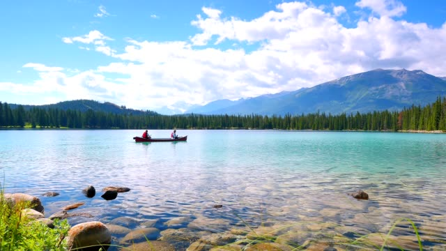 Canoes on Crystal Clear Lake, Rippling Water video