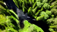 AERIAL: Canoes on River in the Wilderness video