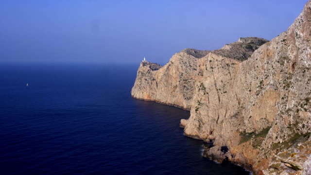 Cap de Formentor, Majorca, picturesque viewpoint of mountains near Balearic Islands shot in slow motion FullHD. video
