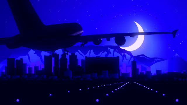 Cape Town South Africa Blue Airplane Landing Skyline Midnight Background video