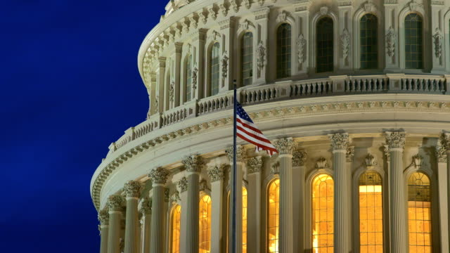 US Capital Dome at Dusk with American Flag video