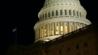 US Capital Dome at Night with American Flag video