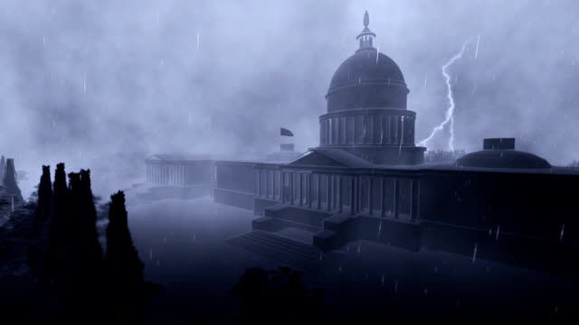 Capitol building, Washington, storm with lightnings, seamless loop video