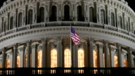US Capitol Dome at Night in Washington DC - ECU video