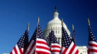 US Capitol Dome with row of American flags in foreground video