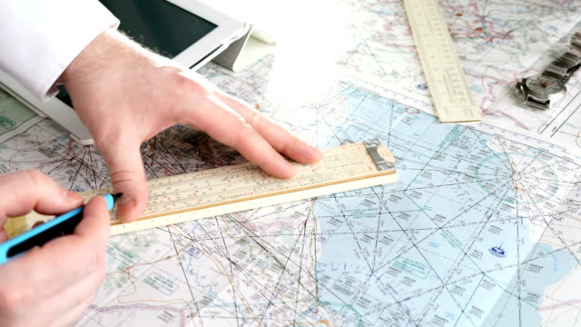 Captain of the aircraft plans a flight route video