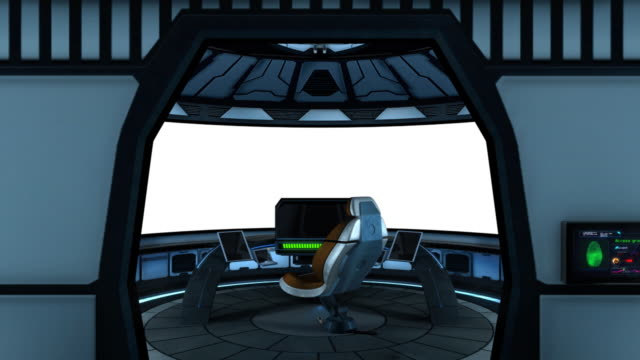 Captain's bridge with isolated white screen video