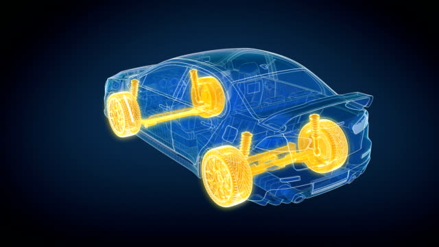 Car and Chassis 360 loopable animation HD. video