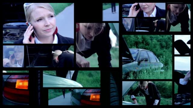 Car breakdown. Split screen. video