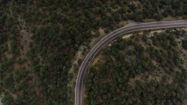 AERIAL: SUV car driving along the winding mountain pass road through the forest video