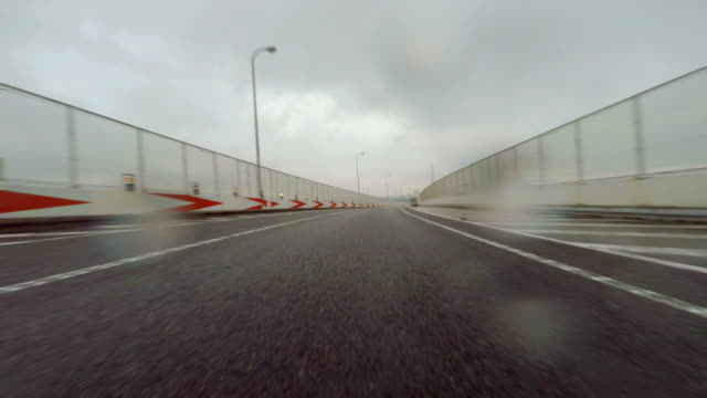 Car driving at rainy day - 4K video