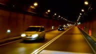 Car driving in tunnel video