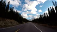 Car driving on Icefields parkway scenic road video