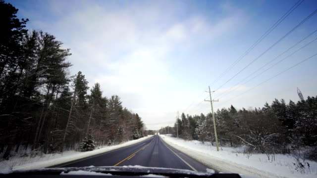 car driving road forest tree winter snow in ontario canada video