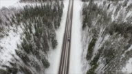 AERIAL: Car driving through Finnish snowy woods video