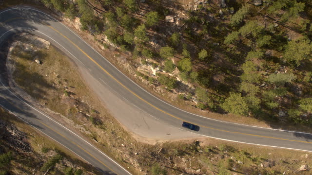 AERIAL SUV car driving through hairpin bend on mountain pass road in pine forest video