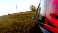 Car driving through the countryside. video