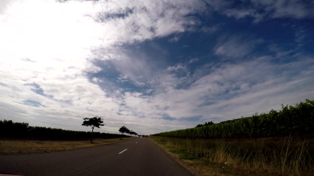 CAr driving trough french country side POV video