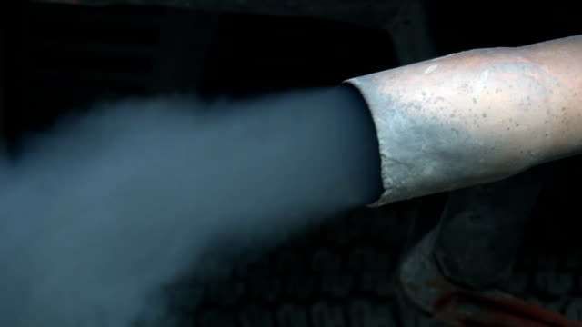 Car Exhaust close up, Slow motion video