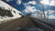 Car Onboard Camera: driving in a snowy road video