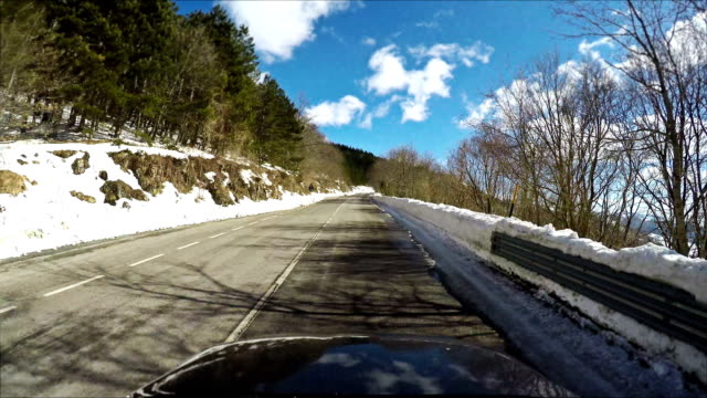 Car Onboard Camera on a winter mountain pass video