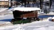Car passing by horse cart and horses in the winter video stock footage video