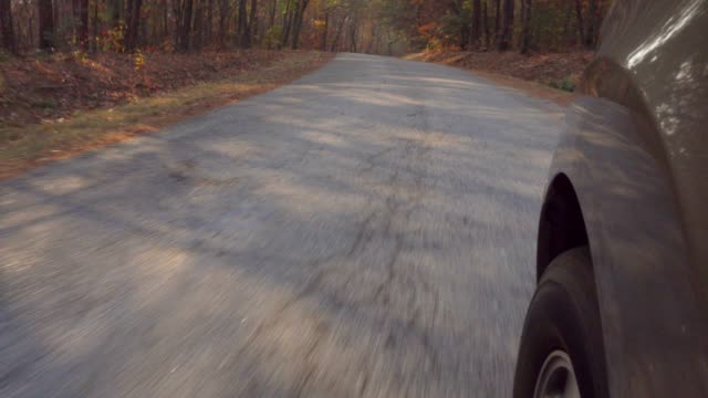 Car Riding on the Road in Autumn video